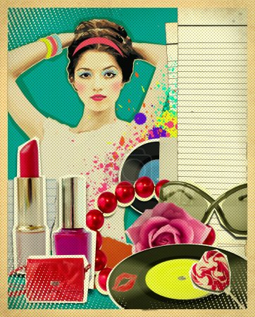 Retro young woman with fashion accessories on old paper texture