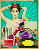 Retro young woman with fashion accessories on old poster