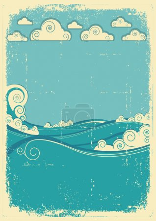 Sea waves in sun day. Vintage abstract image on grunge paper