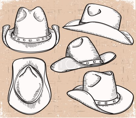 Illustration for Cowboy hat collection .Vector clothes isolated on white - Royalty Free Image