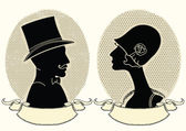 Man and woman portraits.Vector vintage image