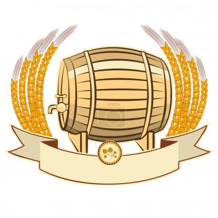 beer barrel.Vector illustration isolated on white background