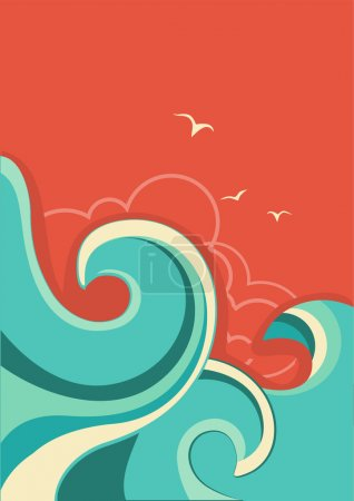 Illustration for Vintage tropical background with sea waves and sun.Vector color poster - Royalty Free Image