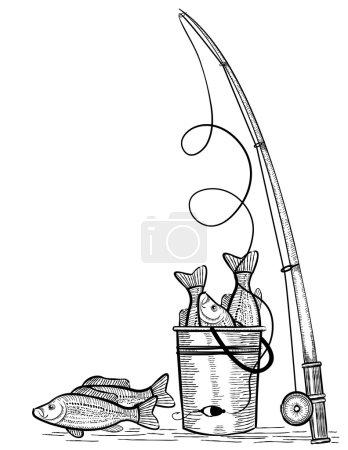 Illustration pour Canne à pêche et poissons.Illustration de dessin vectoriel noir sur blanc - image libre de droit