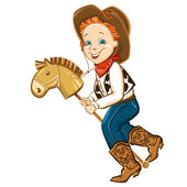 cowboy kid and toy horse