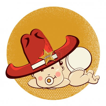 Illustration for Cowboy baby with big western hat.Vector funny illustration - Royalty Free Image