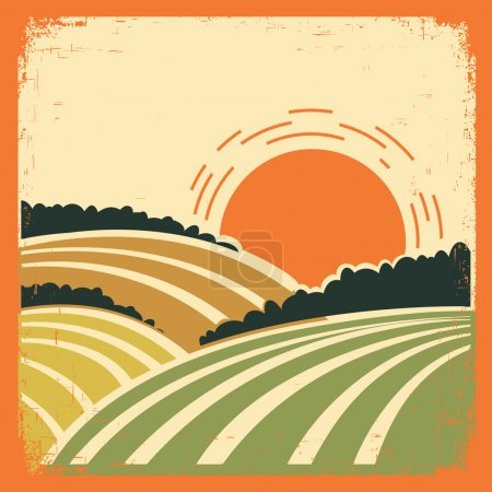 Illustration for Vintage landscape with fields on old papertexture.Vector color poster - Royalty Free Image