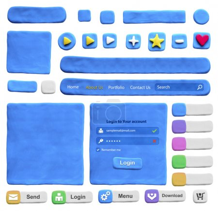 Set of web design elements from plasticine