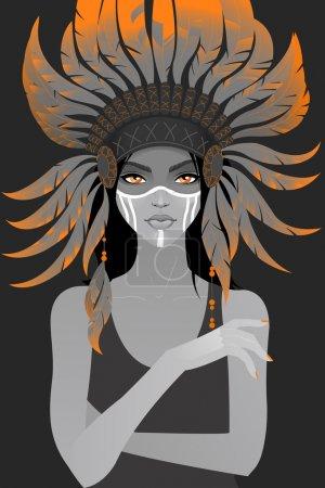 Beautiful girl in a headdress of feathers