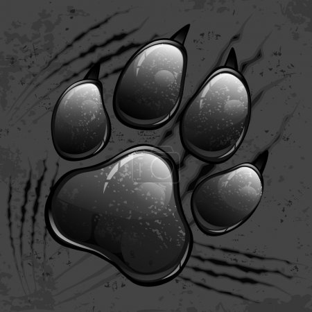 Illustration for Dark animal paw print and scratches on black, vector illustration - Royalty Free Image