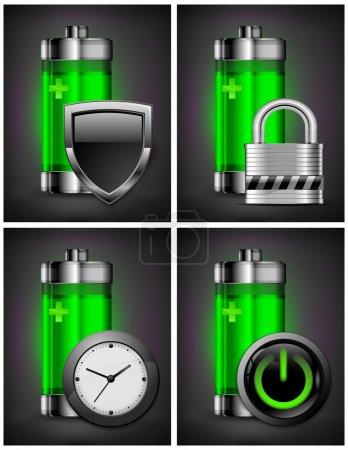 Illustration pour Icône de batterie énergétique avec différents symboles sur le vert, concept de recyclage, illustration vectorielle - image libre de droit