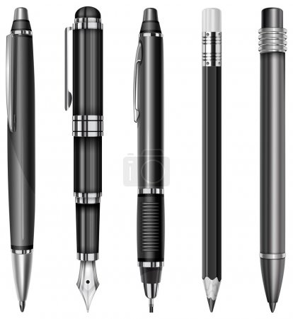 Illustration for Set of black pens and pencils isolated on white, vector illustration - Royalty Free Image