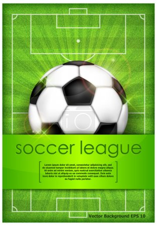 Ball on green field background and text