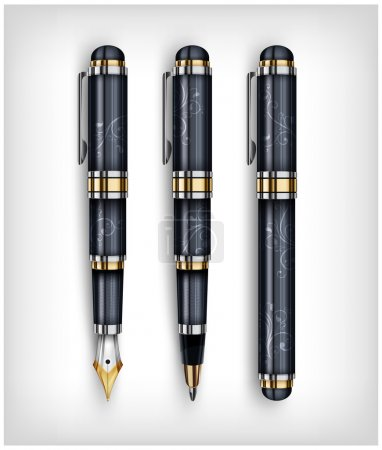 Illustration for Black fountain pen, icon and text, creative concept, vector illustration - Royalty Free Image
