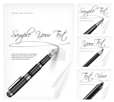 Illustration for Black writing tools and white paper sheet with signs - Royalty Free Image