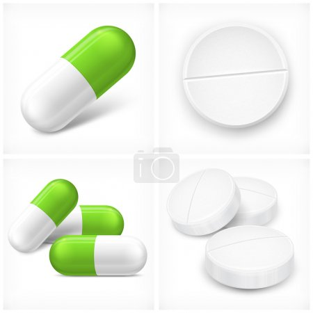 Illustration pour Différentes pilules, comprimés et capsules, sur blanc, illustration vectorielle - image libre de droit