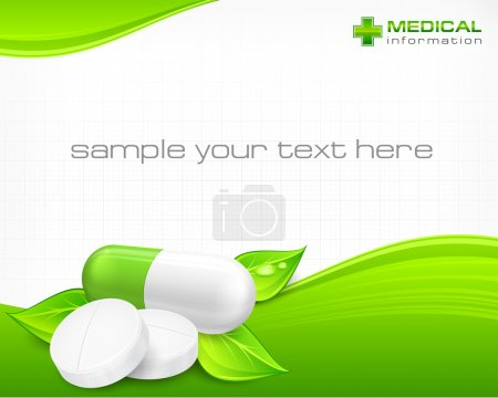Illustration for Pills, tablet and capsule with text on natural background, vector illustration - Royalty Free Image