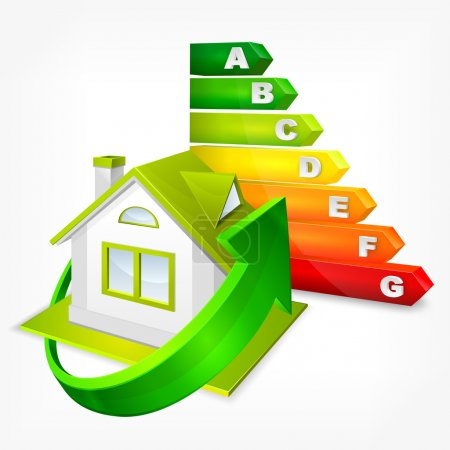 Energy efficiency rating with arrows and house