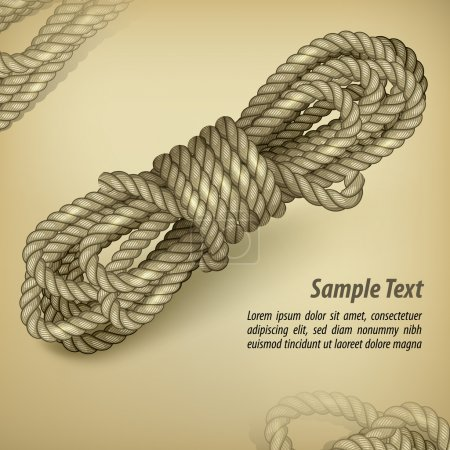 Illustration for Coil of rope on old brown background and text, vector illustration - Royalty Free Image