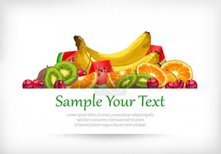 Illustration pour Fruits sur blanc, orange, banane, cerise, kiwi et pastèque, illustration vectorielle - image libre de droit