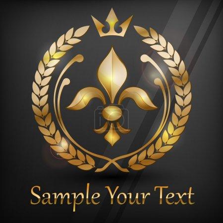 Illustration for Laurel wreath emblem with gold lily, on black, vector illustration - Royalty Free Image