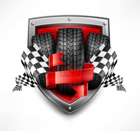Racing symbols on shield