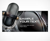 Metallic microphone isolated on black background vector illustration