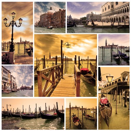 Photo for Collage Venice lagoon and canals with gondolas at night. Venice, Italy, Europe - Royalty Free Image