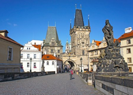 Lesser Town tower in Charles bridge, Prague, Czech Republic