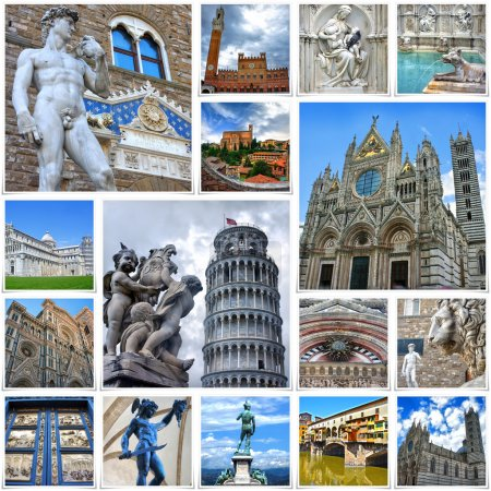 Collage of travel images from Italy (my photos). Attractions of Tuscany - Florence, Siena, Pisa