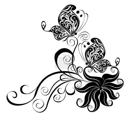 Illustration pour Ornement vectoriel décoratif. Ornement floral vectoriel avec papillon, élément de design - image libre de droit