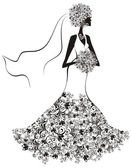 Bride hair and dress decorated with flowers