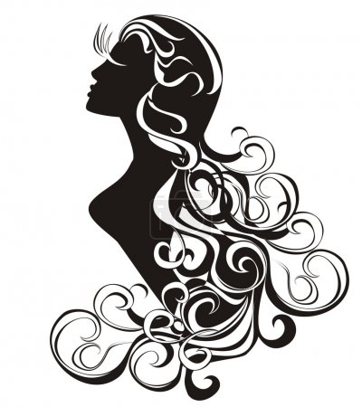 Illustration for Astrology sign - Virgo. tattoo beauty girl with curling hair. - Royalty Free Image