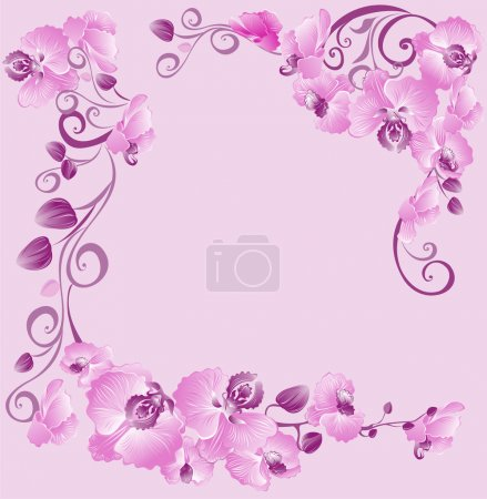 Illustration for Floral border with orchids for your design - Royalty Free Image