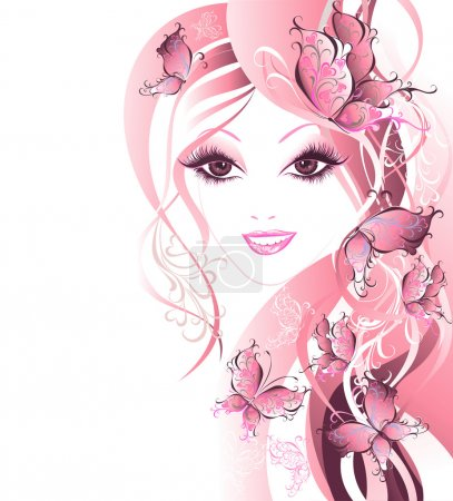 Illustration for Beautiful women with butterflies in hair - Royalty Free Image