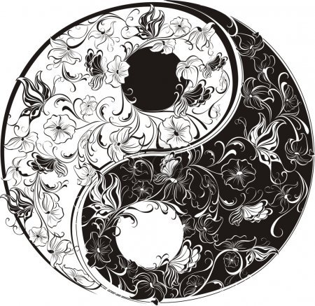 Illustration for Floral Yin Yang Symbol - Royalty Free Image