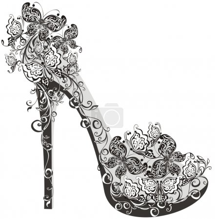 Illustration pour Chaussures sur un talon haut décoré de fleurs et de papillons - image libre de droit