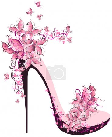 Illustration for Shoes on a high heel decorated with butterflies - Royalty Free Image