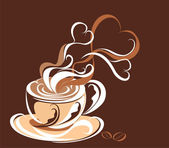 Love coffee Cup of coffee with fragrant steam in the form of hearts