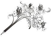 Creative floral pencil Art concept vector illustration