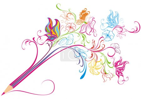 Illustration for Creative pencil whit floral ornate and butterfly art concept vector illustration - Royalty Free Image