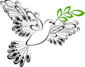 Flying dove whit olive branch. Symbol of peace and unity