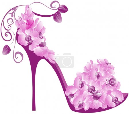 Illustration for Vector illustration of orchids high heel. Shoes decorated with orchids - Royalty Free Image