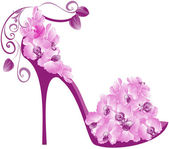 Vector illustration of orchids high heel. Shoes decorated with o