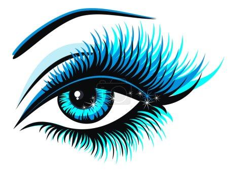 Illustration pour Belle oeil bleu femelle - image libre de droit