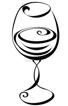Illustration pour Verre à vin noir et blanc stylisé - image libre de droit