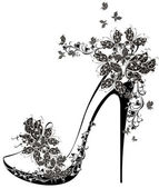 High heel decorated with flowers and butterflies