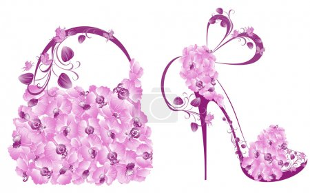 Illustration pour Belles chaussures et sacs féminins - image libre de droit