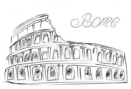 Colosseum in Rome, Italy. Vector sketch