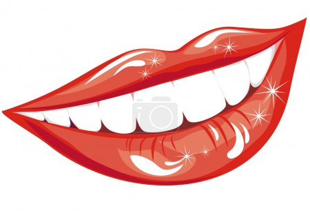 Illustration for Beautiful smiling mouth with healthy teeth isolated on white - Royalty Free Image